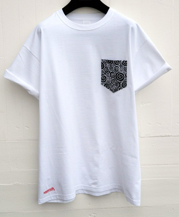 men 39 s black and white mosaic design white pocket t shirt
