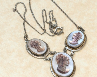 Vintage Carved Abalone Cameo Necklace