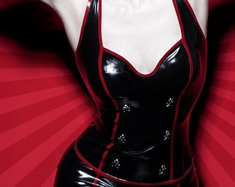 ROKKU latex TOP with front skulls
