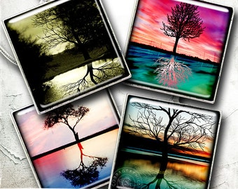 Reflections - Trees - Printable 1x1 inch and scrabble tiles - Digital Collage Sheet CG-780S for Jewelry Making, Scrabble Tiles, Crafts
