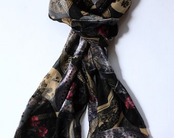 Black Gold Silk Velvet Burnout Scarf