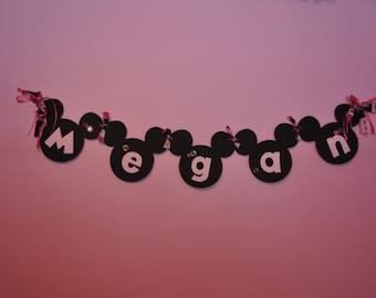 Girly Minnie Name Banner