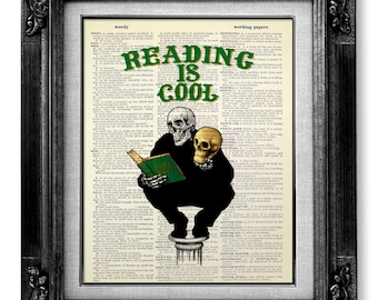 Skull Art, Gothic Decor, BOOK Lover GIFT Man, Library Art Print, Gift Reader Librarians Bookworm Gift Idea, Skeleton Poster, READING is Cool