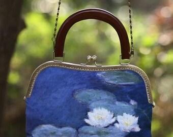 Fine Art Collection Claude Monet The Lotus oil painting handbag clutch