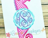 Monogram Seahorse Girl Digital Machine Embroidery Applique Design 4 sizes