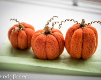 Felted Pumpkins-Fall Autumn Decor-Harvest Ornament-Thanksgiving-Halloween Decoration-Orange Felt Pumpkins-Rustic-Set of 3-Candyfleece-UK