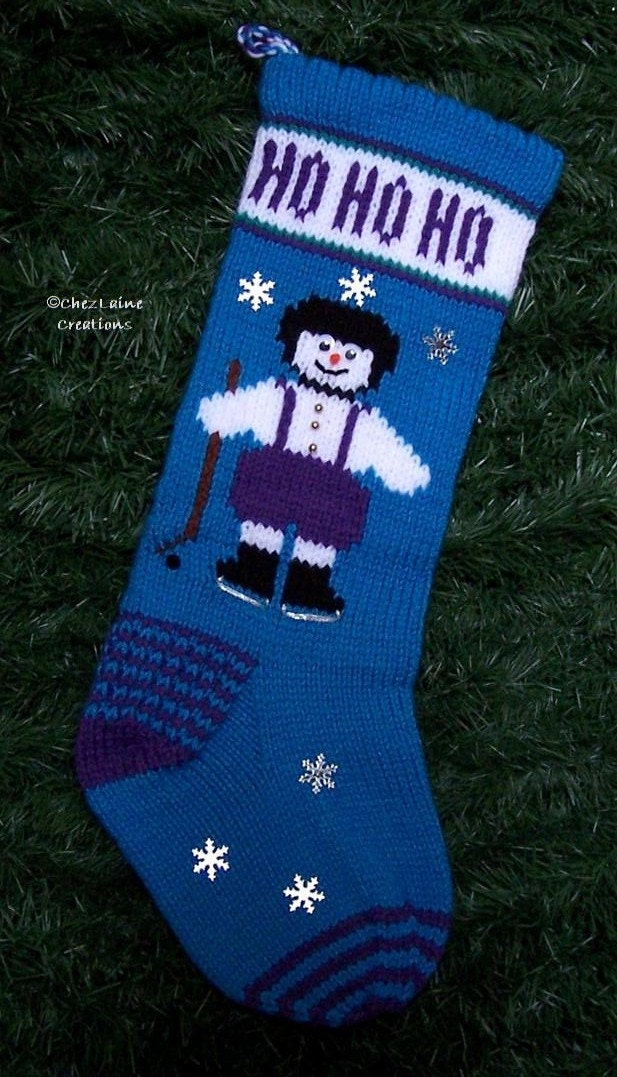 Christmas Stocking Knitting Pattern Circular Needles : Hockey Snowman Christmas Stocking Knitting by ChezLaineCreations