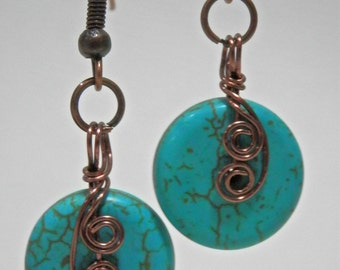 Wire wrapped antique copper turquoise swirl disc earrings
