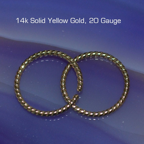 Small Nose Ring - Solid Gold Nose Stud - Nose Hoop - Cartilage Earring - Tragus Earring - Daith Ring - Helix Hoop - Nose Piercing 20g