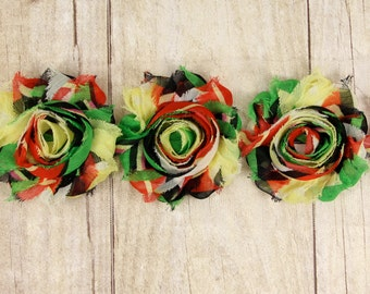 Trim -  Multi color Red, Green Yellow and Black Shabby Chiffon Flower -  shabby flower trim, shabby chiffon rose trim, shabby rosette