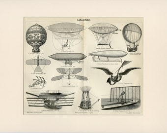 ZEPPELIN BALLOON Print C. 1894 Antique Engraving - Matted 12x16 - Steampunk Aviation Historical - Wall Art, Home Decor, Christmas Gift