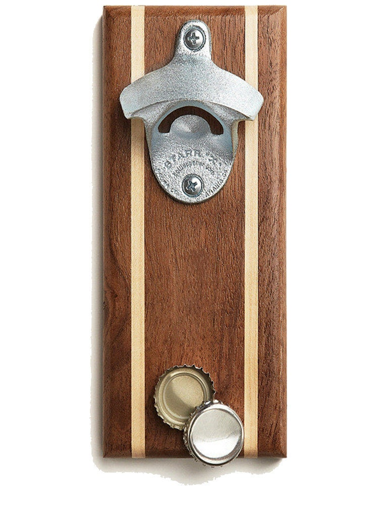 walnut magnetic bottle opener and cap catcher with by