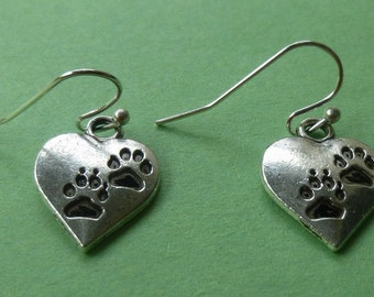 Charming Silver Plated Heart Paw Print Earrings