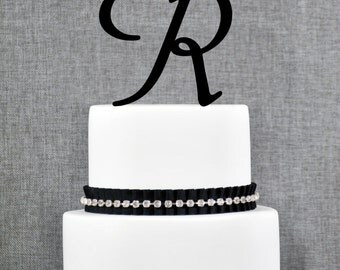 Letter R - Initial Cake Topper, Monogram Wedding Cake Topper, Custom Cake Topper