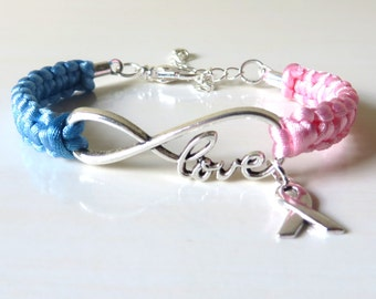 Pink/Blue Awareness Ribbon LOVE Charm Bracelet SIDS Pregnancy Infant Loss Infertility Inflammatory Breast Cancer Male Breast Cancer Pro Life