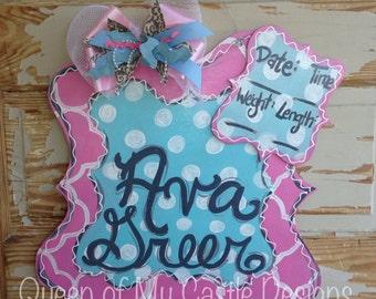 Scalloped Birth Announcement Door Hanger