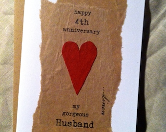 4th Wedding Anniversary Card LINEN Traditional Gift Handmade Keepsake ...