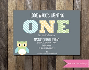 PRINTABLE Owl First Birthday Invitation - 1st Birthday Invitation - Look Whoo's One! - Owl Girls Birthday Party 4x6 or 5x7