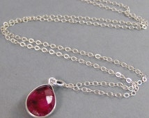 Ruby Red,Genuine Ruby,Necklace,Ruby Necklace,Birtstone,Birthstone Necklace,Red,Ruby,July Birthstone,Red Stone,Ruby Necklace.SeaMaidenJewelry