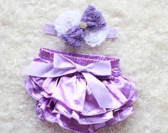 lavender baby Girl headband and Ruffle Bum Baby Bloomer, lavender Diaper Cover, Ruffle Bum, Newborn Headband Set - Photo Prop
