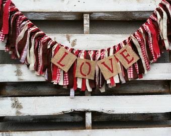 Love Rag Garland, Rag Garland, Photo Prop, Rustic Wedding Decor, Back Drop Garland, Valentine Rag Garland, Valentine Decor, Hot Chocolate