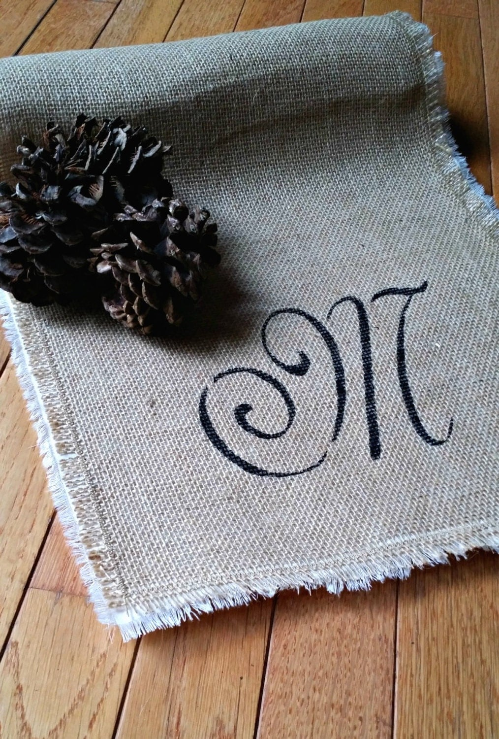 Monogrammed Burlap Table Runner Rustic Table Decor Rustic