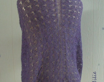 purple lace shawl, hand knitted, alpaca/silk