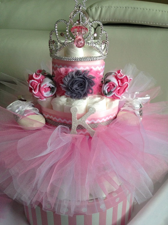 grey chevron dots tutu diaper cake for baby shower gift or centerpiece