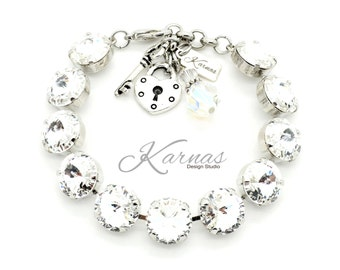 CRYSTAL CLEAR 12MM Crystal Rivoli Bracelet Made With Swarovski Elements *Pick Your Finish *Karnas Design Studio *Free Shipping*