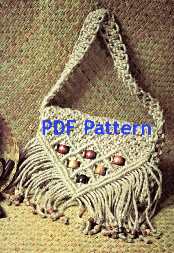 macrame purse jute tote bag cord purse vintage 1970 s