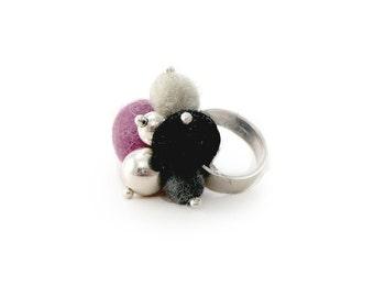 Modern Ring, Felt balls Ring, Contemporary Jewelry, Wool Jewel