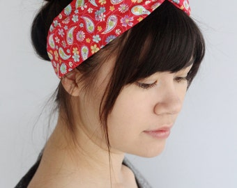 Red Paisley Turban Headband, Twist Headband, Boho Headwrap
