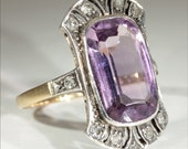 RESERVED SALE Antique 18k and Platinum Edwardian Amethyst and Diamond Ring c.1910