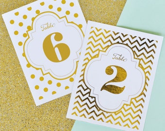 Elegant Wedding Table Number Cards - Gold Wedding Table Numbers - Gold & Silver Wedding Table Numbers PRINTED For You (EB3043)