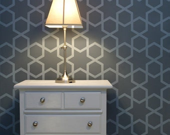 Diamond Hive - Large Moroccan wall stencil - Geometric wall stencils for DIY projects - Wallpaper look and easy wall decor