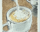 Mini miniature Espresso coffee with milk, Watercolor italian coffee cup.Archival ink black and white on paper 140lb , 100% cotton acidfree