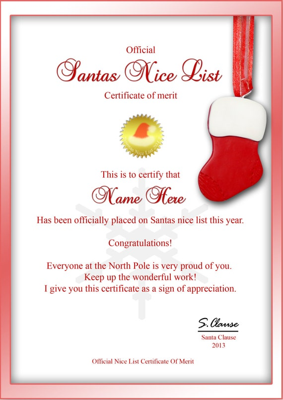 Personalized Santas Nice List Certificate Christmas – Today's Update