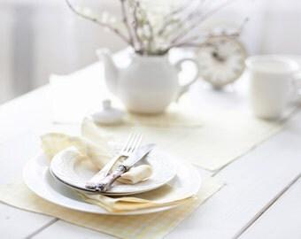 White yellow tartan table napkins set 6 - Linen gingham spring table pastel lemon  napkins cloth