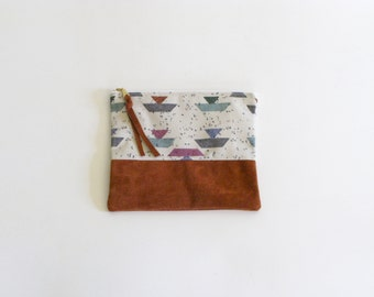 Repurposed Suede & Vintage Geometric Print Zipper Pouch, 8""