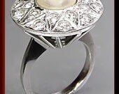 Antique Vintage 1950's 14K White Gold Pearl and Diamond Cocktail Ring
