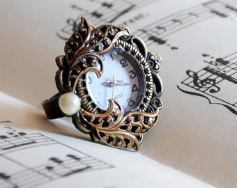 Victorian Bronze Watch Ring with Filigree, Steampunk Working Watch Ring