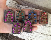 SALE: Set of 6 Buddha Amulet Pendants with chunky stones in antique brass frames