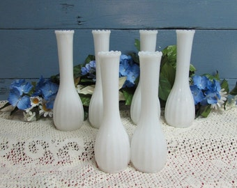 Milk Glass Bud Vase ~ Collection of 6 ~ Weddings ~ Party ~ Shabby Chic Decor ~ Same Design