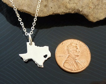 Tiny Sterling Silver Texas Necklace / Custom Heart / Small TexasNecklace / Love Texas / State Necklace / Texas Wedding