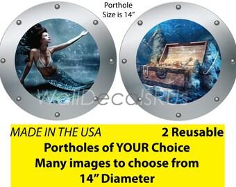 Mermaid Wall Decals,Mermaid Wall Art,Mermaid Wall Decor,Nautical Wall Decals,Ocean Wall Decals,Porthole Window,Submarine Window, O25O26