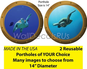 Sea Life Wall Decals, Ocean Wall Decals, Sea Turtle Wall Decals, Porthole Window, Nautical Wall Decals, Fish Decals, Fish Stickers,  O1O22