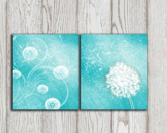 Dandelion art print set of 2 Gift idea Printable Wall art Turquoise Home decor Teal Mint Digital Modern Abstract Flower art INSTANT DOWNLOAD