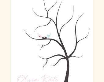 Customized Fingerprint Baby Shower Tree DIY Printable - Thumb Print Guest Book - Girl or Boy Option -  Love Birds and Nested Baby Bird