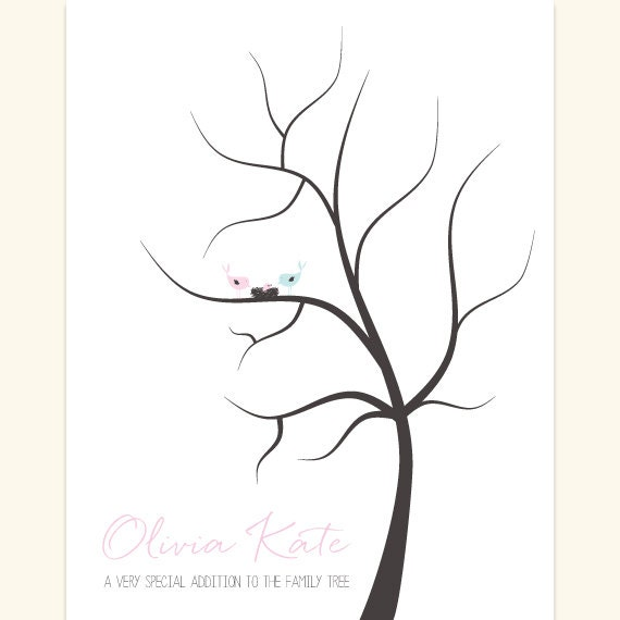 Customized Fingerprint Baby Shower Tree Diy Printable Thumb