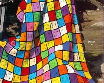 Patchwork Spiderweb Afghan- Vintage Blanket Crochet Pattern, patchwork afghan, PDF InStAnT DoWnLoAd